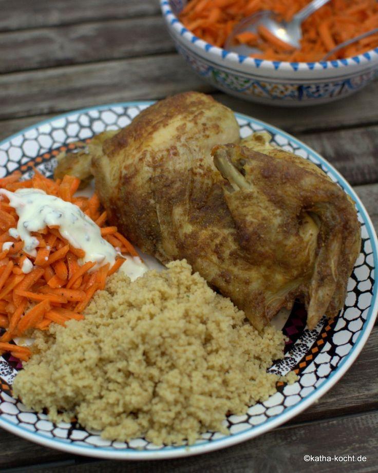 Marokkanisch gewürztes Brathähnchen mit Couscous - Katha-kocht!
