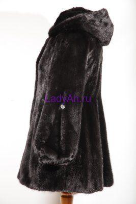 Норковая шубка с капюшоном, цвет черный бриллиант.