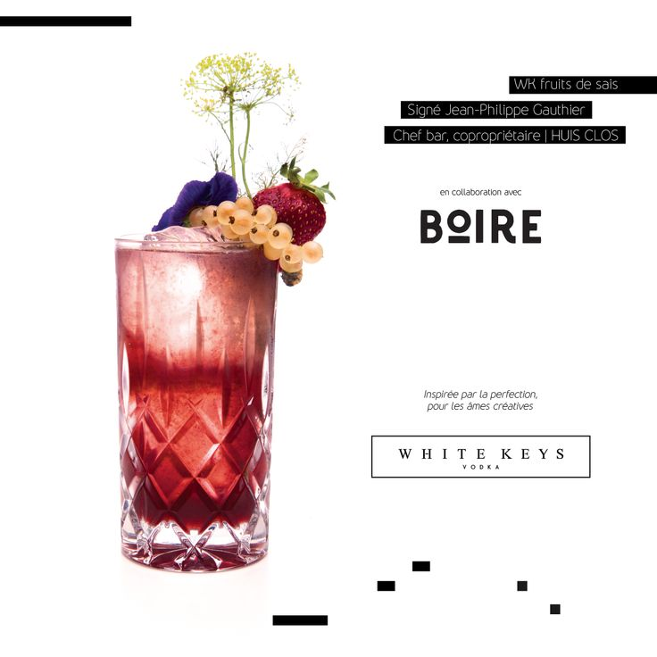 FRUITS DE SAISON - Collaboration avec Jean-Philippe Gauthier du Huis Clos et White Keys Vodka!  Cocktail à la lavande, sureau, raison de corinthe et vermouth Rouge Gorge