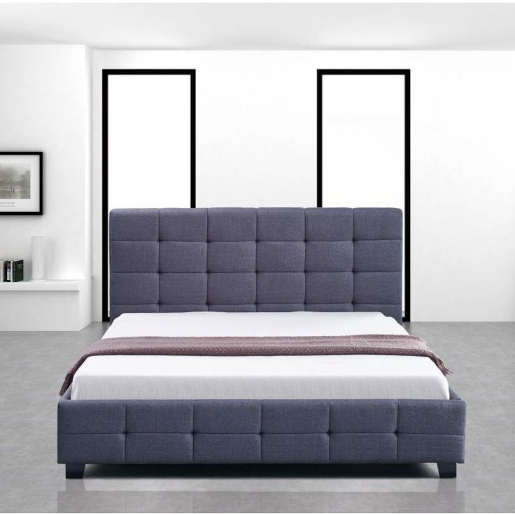 Palermo Queen Size Fabric Deluxe Bed Frame in Grey | Buy Queen Bed Frame