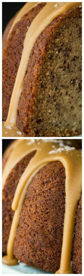 Banana Pound Cake with Salted Toffee Icing ~ May be the most delicious, easy banana cake you'll ever make... The icing takes it over the top!