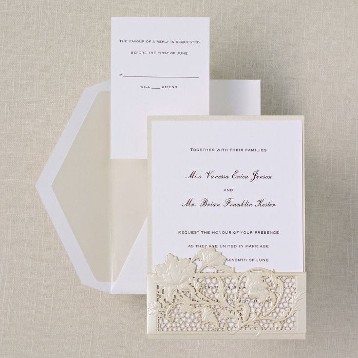 Exceptional Exclusively Weddingu0027s Lace Couture Wedding Invitation Has An Elegant  Laser Cut Pocket That Holds Your