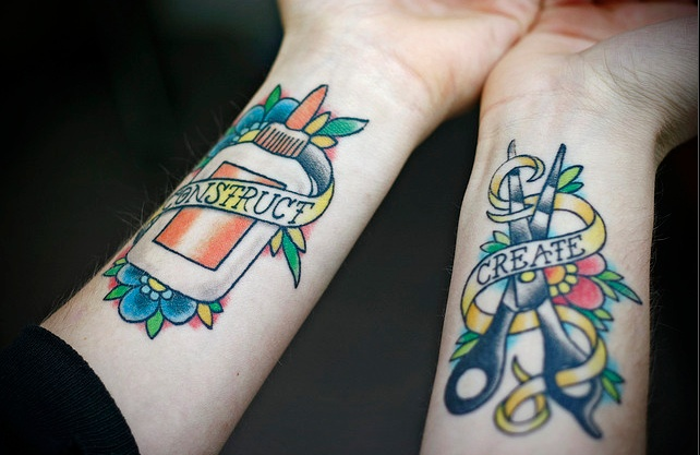 Sewing tattoo, love the colors!
