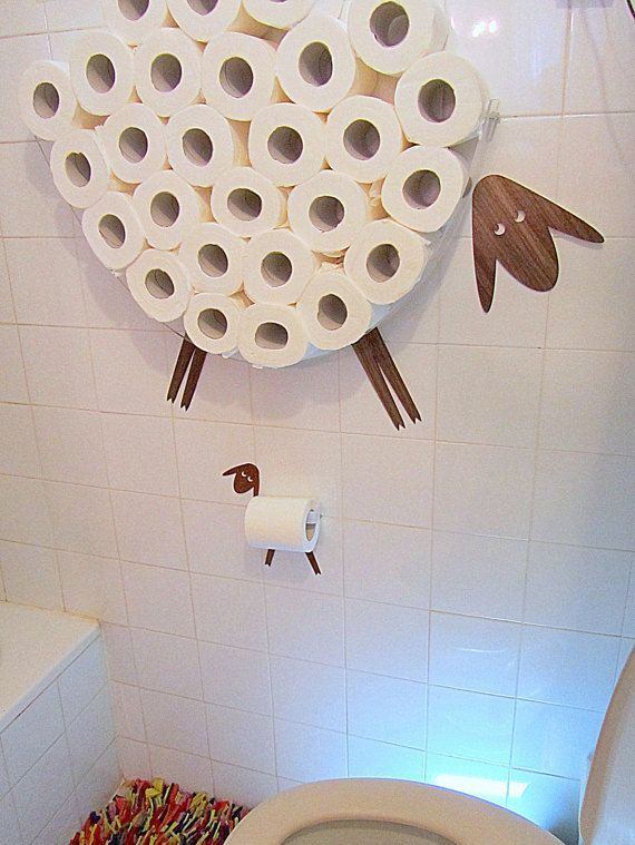 Set: Wall shelf for storing of toilet paper rolls and toilet roll holder. Funny…