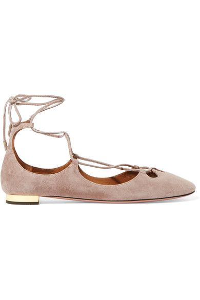 Aquazzura's 'Dancer' ballet flats are a softer, more rounded take on the designer's signature 'Christy' style. Made from suede, they have scalloped cutouts at the front and a gold trim at the heel. Set off the taupe color with jeans, or wear this pair as the perfect accompaniment to breezy dresses.