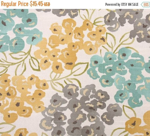 Teal Blue on Beige Drapery Upholstery Fabric Bright Butterfly Floral Design