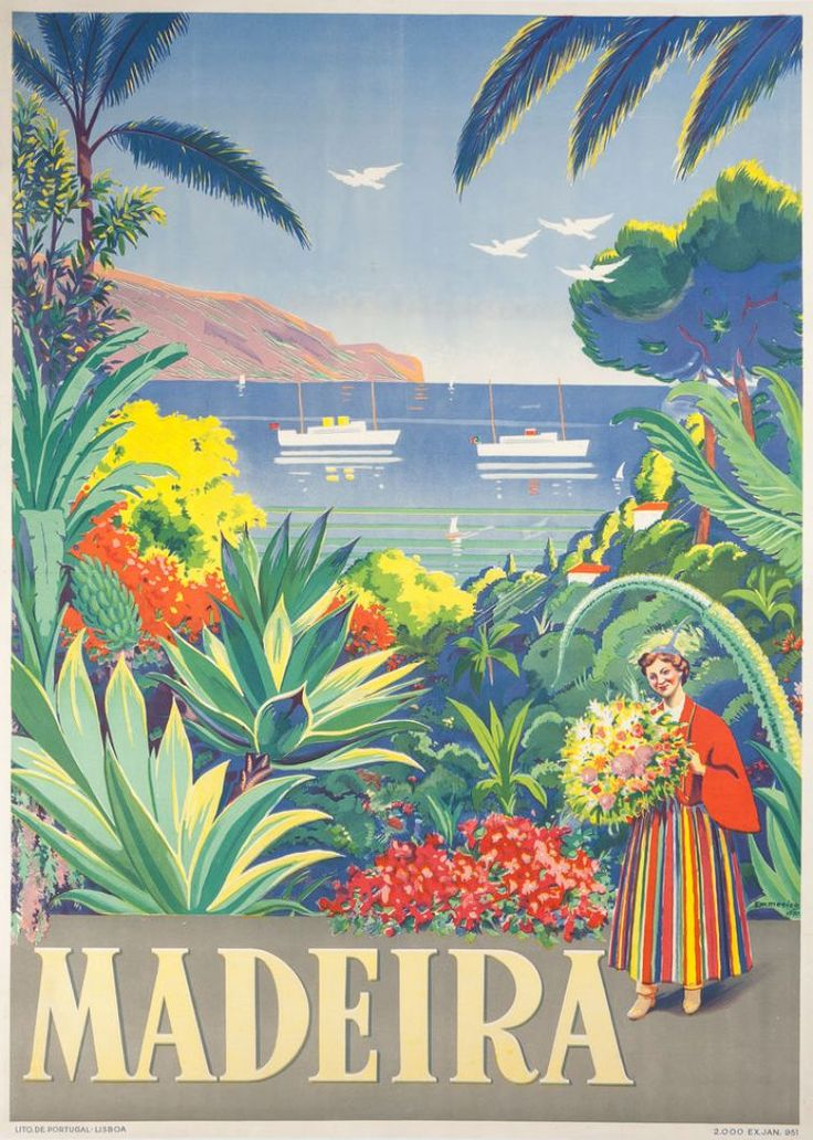 Vintage TP Madeira Spain Retro PostersVintage Travel