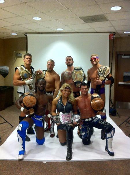 All the wwe champions-Cody Rhodes, Daniel Bryan,CM punk,zack Ryder,kofi Kingston,diva and Evan Bourne.