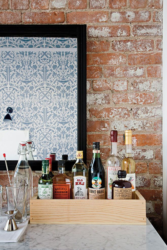 Wythe Hotel: Trays, Minis Bar, Woods Boxes, Brick Wall, Home Bar, Bar Area, Bar Carts, Expo Brick, Hotels