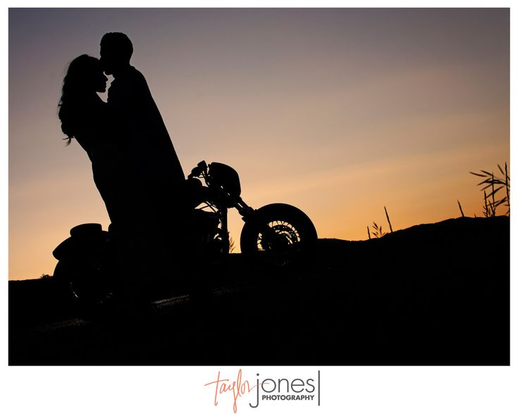 Sunset photo with couple and motorcycle