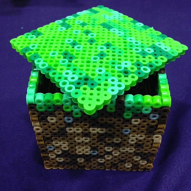 Minecraft block perler beads by pixel_heartz--maybe something to do with my grandsons when they visit