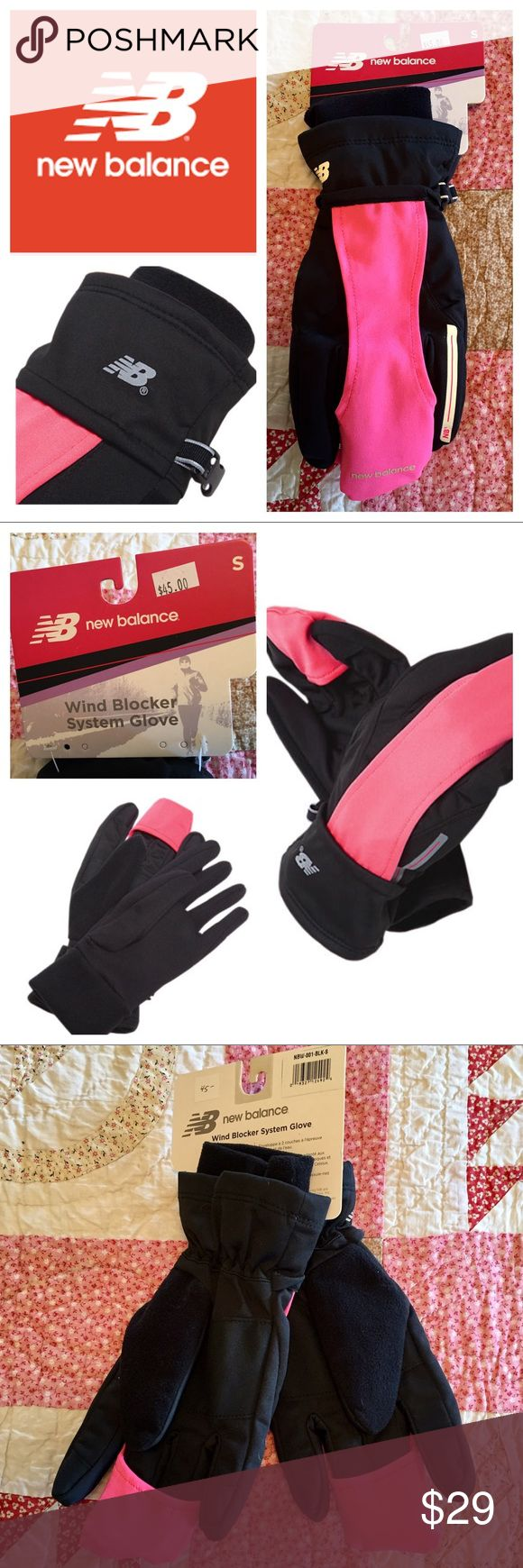 """New Balance Wind Blocker System Gloves NWT pink! Such great gloves! Brand new with tag still attached, New Balance Wind Blocker gloves, complete with nose wipe! Black with hot pink trim. Women's size small. Measures 10 1/2"""" from cuff edge to top of middle finger of gloves. Perfect condition! New Balance Accessories Gloves & Mittens"""