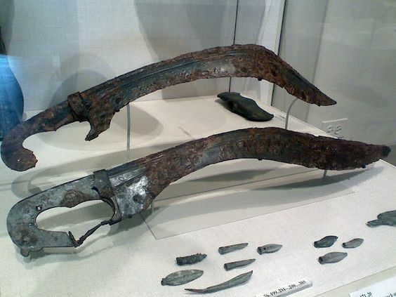 """Kopis makhaira, 5th-4th century B.C. The makhaira/ kopis was a fierce and deadly Greek weapon. Designed to deliver a crushing blow from above, it became the favored sword for cavalry operations, as described by the """"Friend of Sparta"""", Xenophon."""