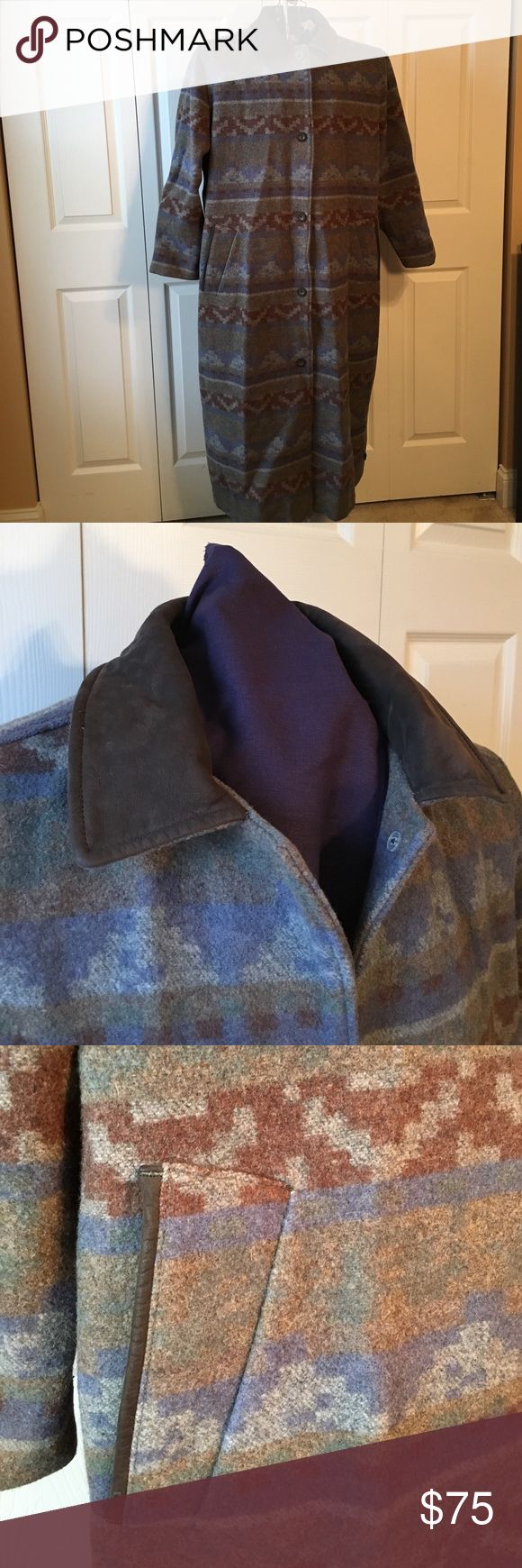 Woolrich Blanket Coat Multi-colored wool blend coat with 1 interior and 2 exterior pockets. Button kick pleat on lower, back hem. Brown suede collar. In great condition with light wear. Woolrich Jackets & Coats Trench Coats
