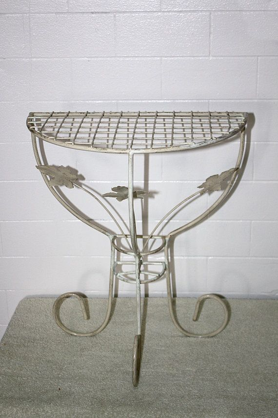 White Iron Table Part - 33: Vintage White Iron Half Table Maple Leaf By QUEENIESECLECTIC, $39.00
