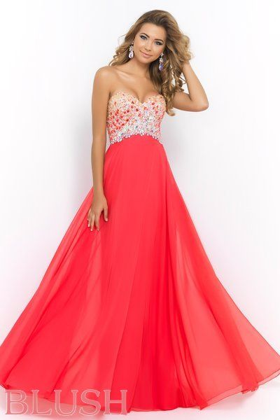Dazzling floor length chiffon formal featuring a sweetheart neckline and empire waist bodice bedecked with an ombre of multicolored stones and sequins. Back zipper closure. Available in Iris, Persimmon, and Sea. #BlushProm #Prom2015 #BlushProm2015
