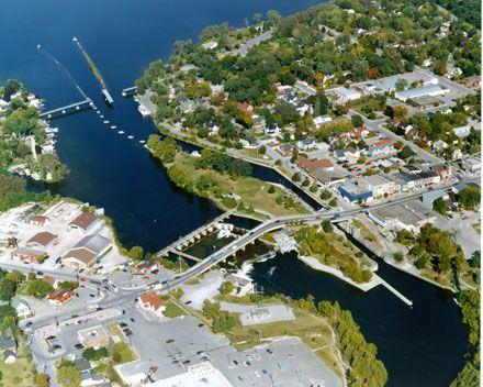 Aerial View of TSW Lock 34 Fenelon Falls, City of Kawartha Lakes.   Trent Severn. Parks Canada.