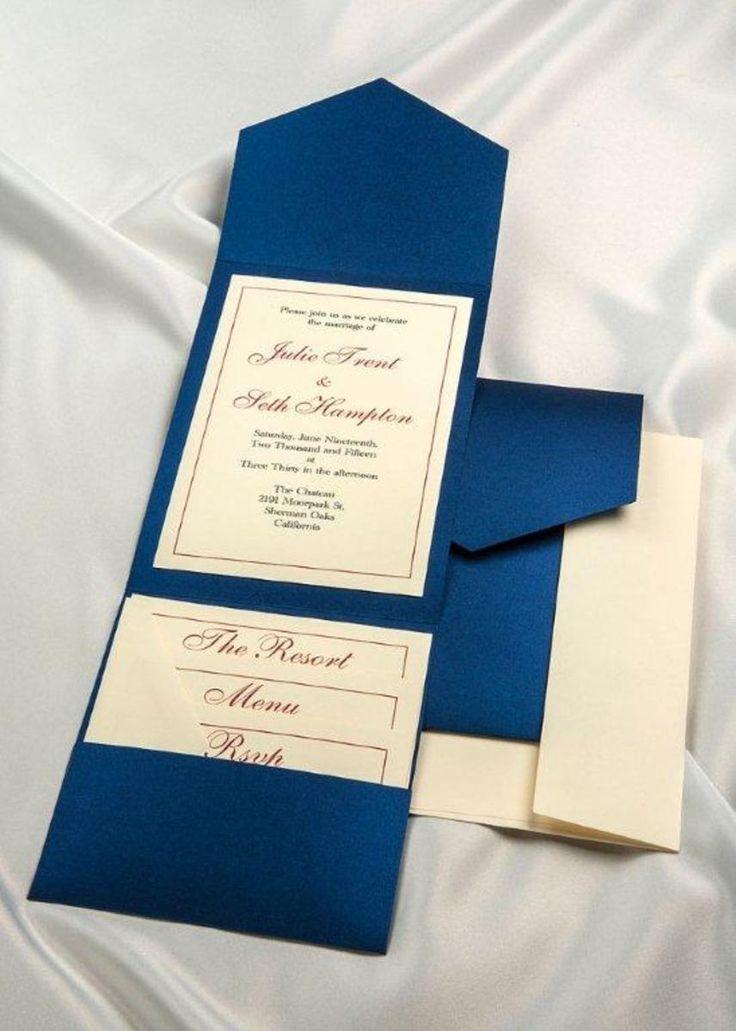 Print Your Own Royal Blue Wedding Invitations, Royal Blue Pocket Weddingu2026
