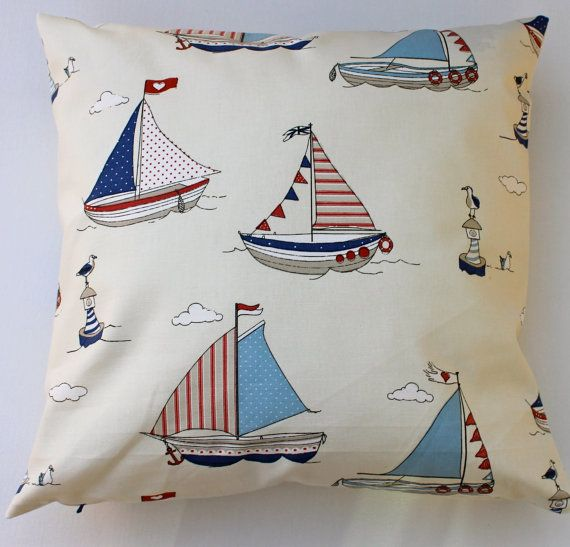 nautical sailing boat pillow cover, blue, white and red nautical cushion cover, nursery cushion, boys bedroom pillow, beach hut pillow made from superior home decor quality 100% cotton SAME FABRIC back of the cushion, with a concealed zip opening due to the nature of the fabric, pattern placement will vary slightly on each cushion This cover is 16 /40cm square, if you require a different size, please contact me All of my pillow covers are made to a professional standard, with overlo...