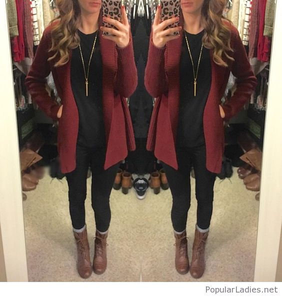 black-pants-and-blouse-with-burgundy-cardigan-and-brown-boots