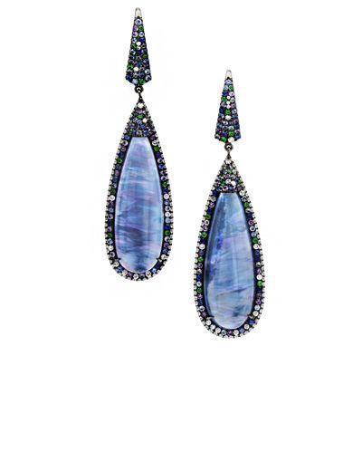 Crystal Opal Cabochon Drop Earrings