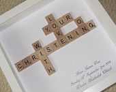 Personalised Christening Scrabble picture - Christening gift, baptism, naming ceremony, naming gift, naming day