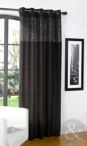 Glamorous Black Contemporary Eyelet Curtain Panel - Curtains UK