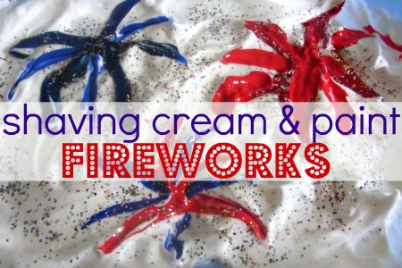 Simple sensory activity for kids. 4th of July themed using shaving cream and more.