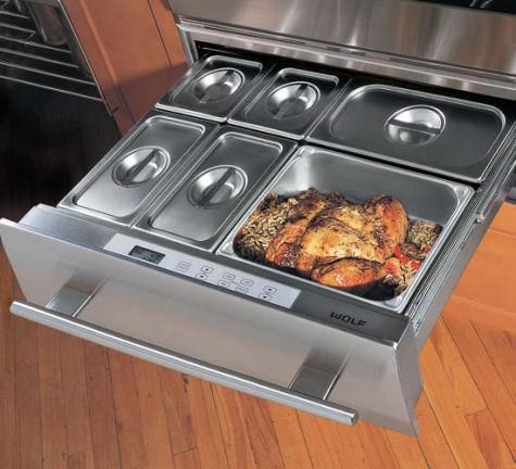 """Wolf warming drawers - This would be a """"must have"""" in a future home. For those nights when the husband will be getting home late and I don't want his dinner to be cold."""