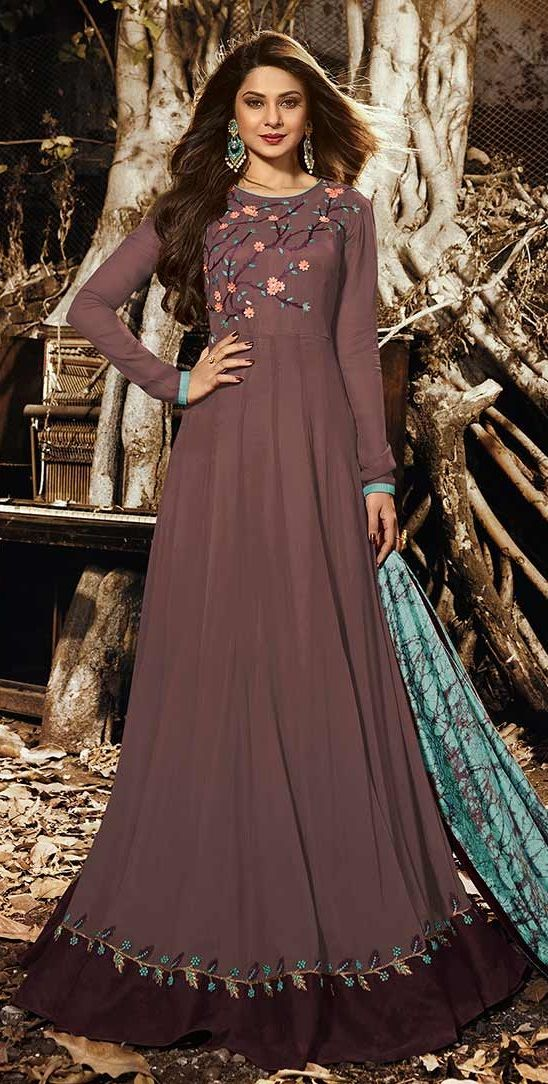 Jennifer Winget Brown Indian wedding anarkali 1130 ...
