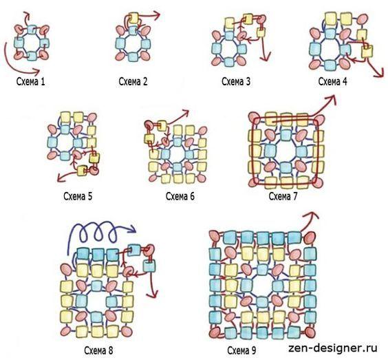 Схема квадратного плетения бисером