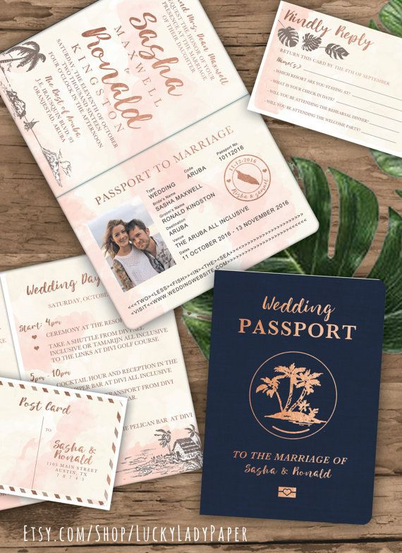 Rose Gold Watercolor Passport Destination Wedding Invitation by Luckyladypaper on Etsy                                                                                                                                                                                 More