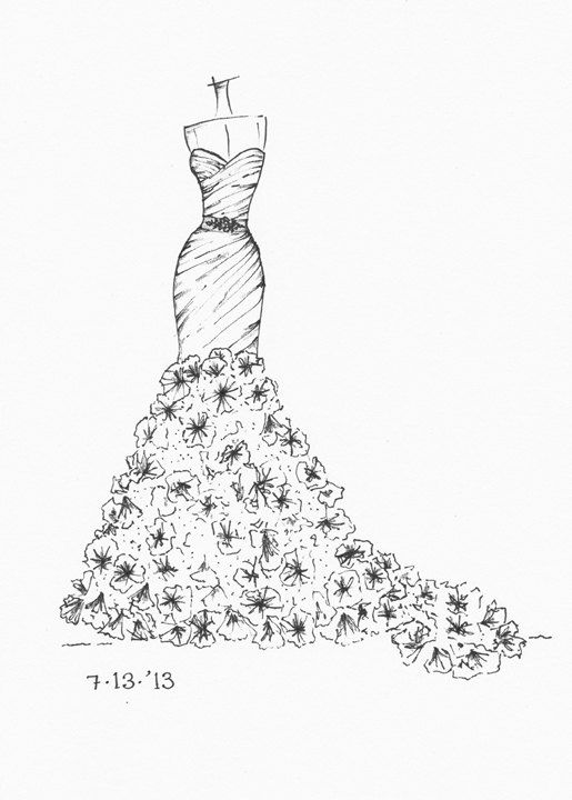 Beautiful ink sketches of your dress! Wouldnt you love to give or get this as a gift? Sketch does not include the picture of your dress - that is just an example of how a picture translates into a sketch.... Can be sketched from either a photo or a web site link. Sketches are in ink and done on high-quality 9*12 Canson paper, ready to be framed in an 8*10 frame or matted/framed in an 11*14 frame. What I need from you: - A digital image or web address to view the dress. Pics can be emailed...