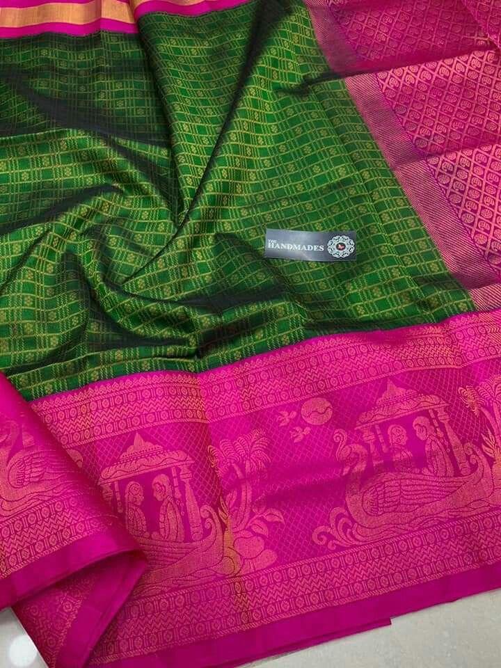 2f60d6ce93143 Latest Kuppadam Silk Sarees with Silver gold Jari Borders   Buttas    Contrast Rich Pallu   Contrast Plain Blouse   Rs. 7500 Order what s app  7995736811