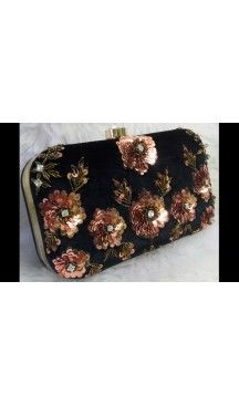 Women's Embroidery Work Black Color Fashion Clutch Purse | FH10351408 Follow Us @heenastyle  #Embroidery #Clutch #Fashion #Bags #Online #Clutchbag #BagsOnline #OnlineShopping #Heenastyle