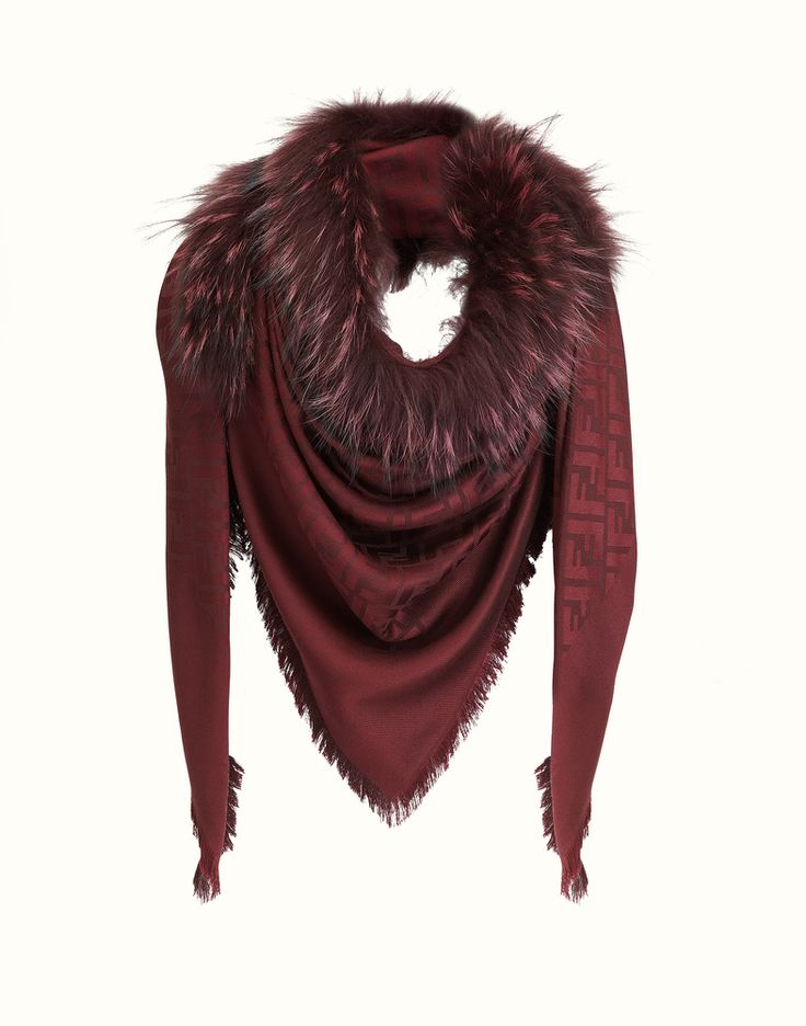 FENDI | FASHION SHOW SHAWL in bordeaux jacquard with fur