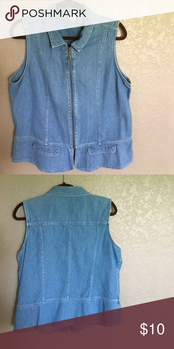 Washed denim zip up vest. Washed denim zip up vest. Adorable when worn with a white tee or tank. Christopher & Banks Tops