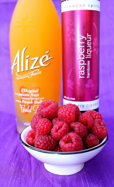 Thug Passion for Fashion    Makes 1    1 ounce Alizé  1 ounce raspberry liqueur (as you know, we heart Okanagan Spirits!)  ½ ounce simple syrup  Champagne  Raspberries to garnish    To a champagne glass add Alizé, raspberry liqueur and simple syrup.  Top with champagne and gently stir.  Garnish with a few floating raspberries.