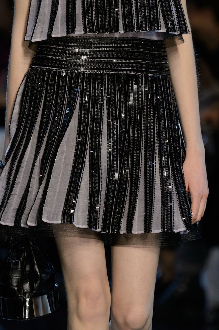 Two tone top & skirt with beaded pleats; couture fashion details // Armani Prive Spring 2016