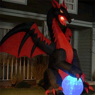 Shop Holiday Living 9-ft x 11.31-ft Animatronic Lighted Dragon Halloween Inflatable at Lowes.com