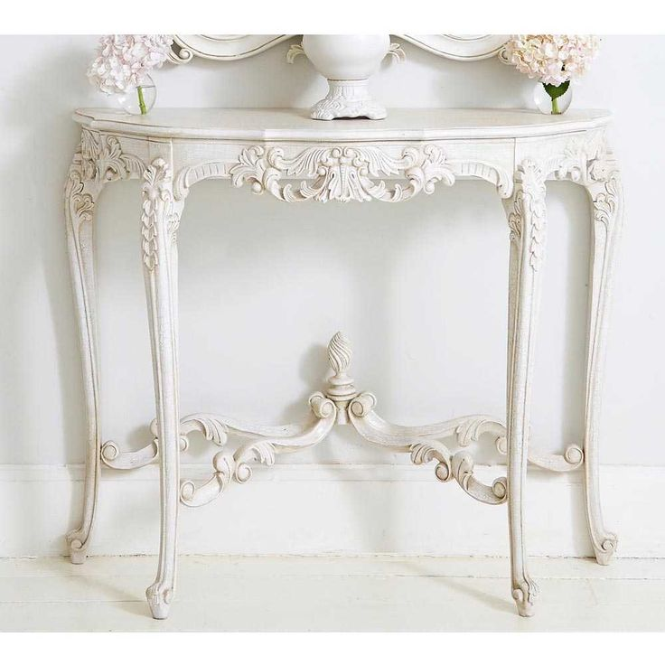 Provencal Marie Antoinette White Console Table