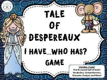 Students will review the The Tale of Despereaux novel in these two 32 card sets. Set one reviews Part 1-is the first half of the book. Part 2 reviews the remainder of the book. Questions include characters, plot and more. I time my class when we play and