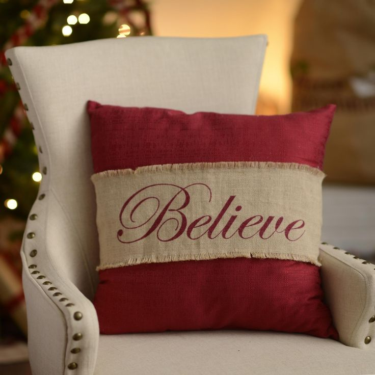 Cozy up with our Red Believe Burlap Pillow and some hot chocolate on a snowy night and you'll feel right at home. The lovely script and holiday colors add a bit of charm and warmth to your Christmas décor.
