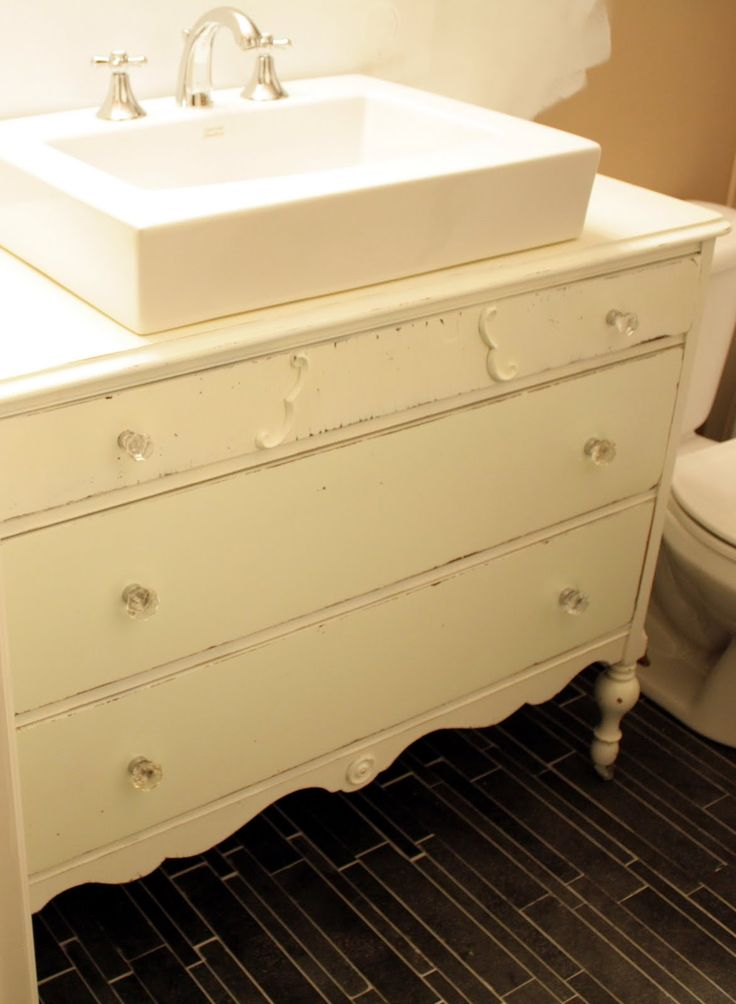 Dresser Turned Bathroom Vanity Tutorial: Old Dresser Turned Vanity #repurpose #project #idea
