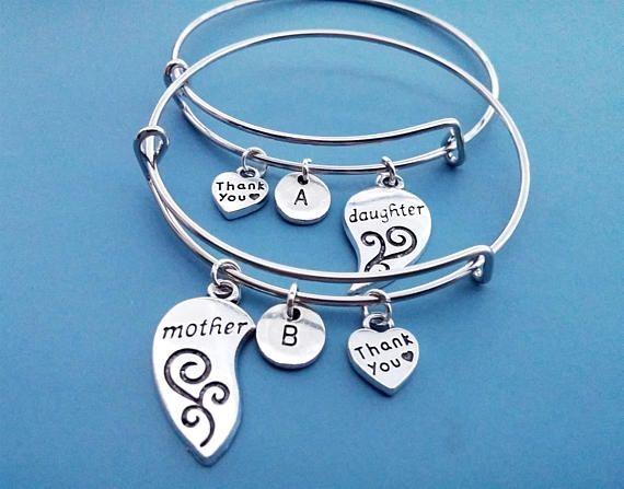 Mother Daughter Bracelets SET daughter bangle Adjustable