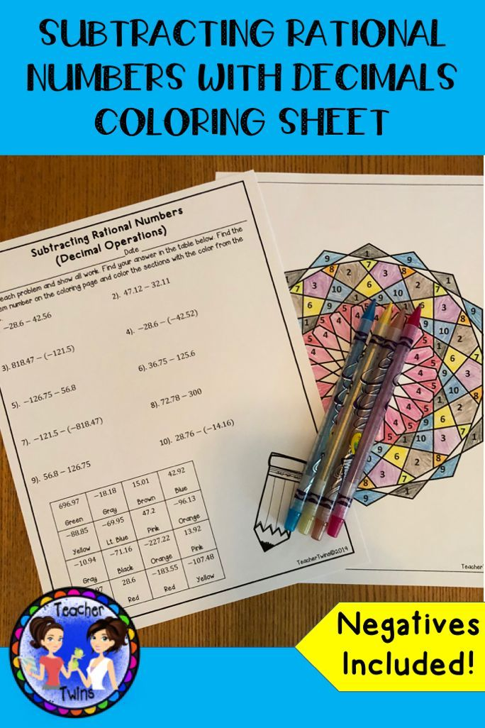 Subtracting Rational Numbers With Decimal Operations Coloring