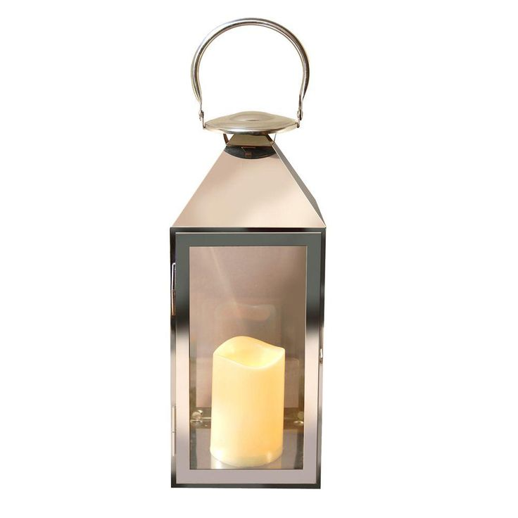 Lumabase 15 in. Chrome Metal Lantern with LED Candle