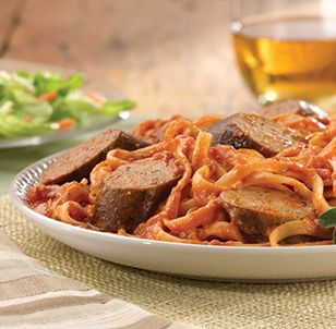 al fresco ® Recipe - Grilled Sweet Italian Chicken Sausage With Tomato Vodka Sauce Over Linguine