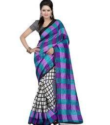 Buy purple printed silk saree with blouse bhagalpuri-silk-saree online