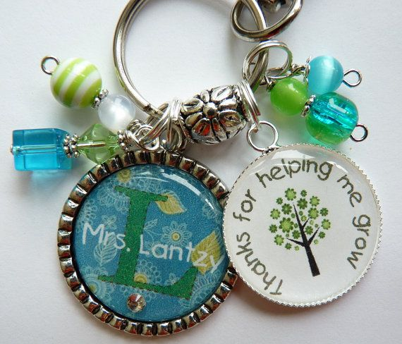 Teacher gift keychain tree personalized, childrens name, nana, mom, gift, present, big sister, aunt, teacher,thanks for helping me grow on Etsy, £15.72